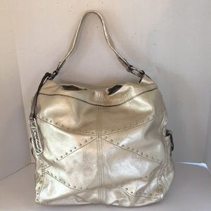 B. Makowski Metallic gold studded shoulder bag